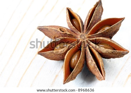 A single star anise, on weathered timber background.  That liquorice smell is wonderful!