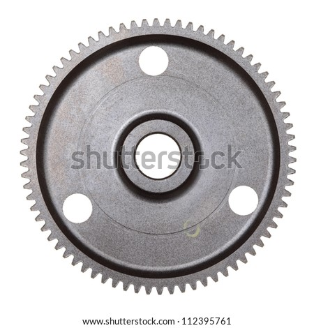 A single steel gear isolated on a white background - stock photo