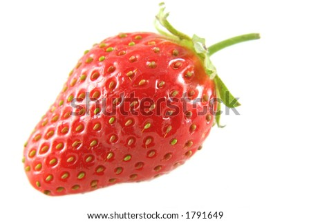 A single strawberry isolated against white