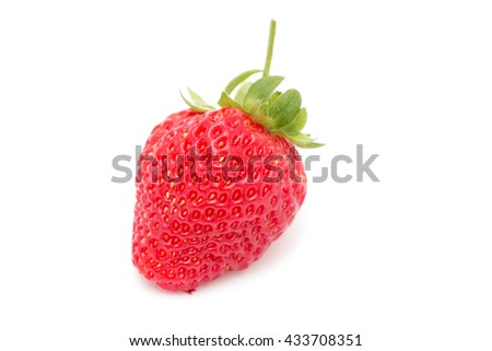 a single strawberry on white background - stock photo