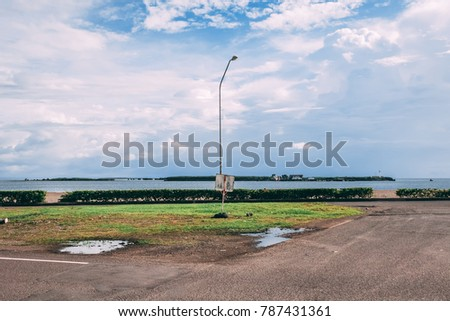 A Single Street Light and Ocean View