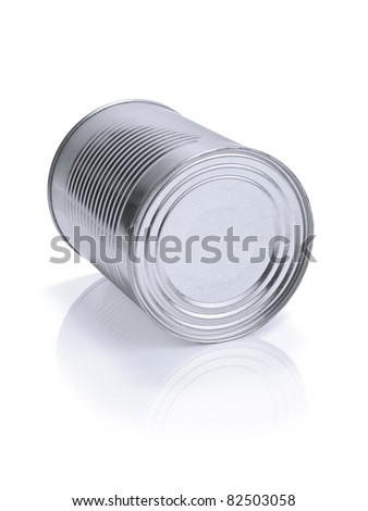 A single tin can isolated on white.