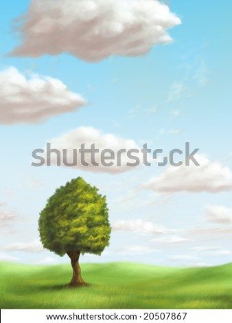 A single tree in a sunny landscape. Original digital illustration. - stock photo