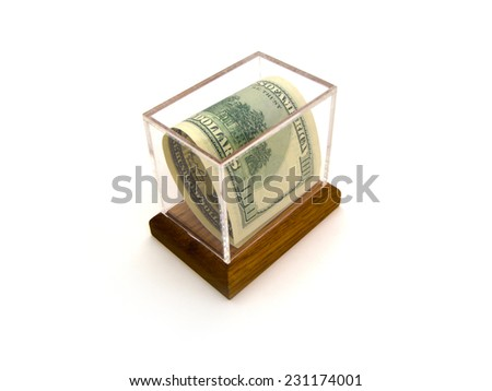 A Single United States One Hundred Dollar Federal Reserve Note Encased In A Small Acrylic Box With Wooden Base. - stock photo
