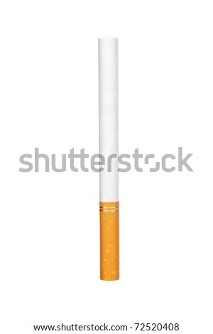 A single unlit cigarette isolated on white - stock photo