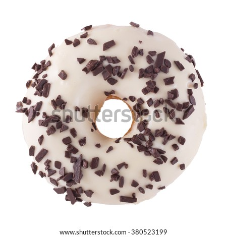 A single wight chocolate glazed donut with chocolate chips isolated white background top view - stock photo