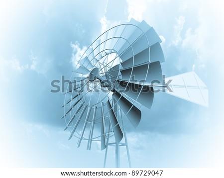 A single wind turbine - stock photo