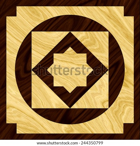 A single wood inlay floor tile design of two contrasting color woods - stock photo