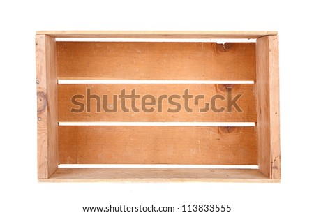 A single wooden crate isolated laying on its side - stock photo