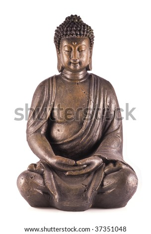 A sitting buddha isolated on a white background. - stock photo