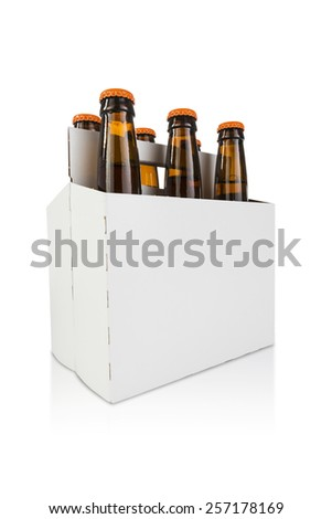 a six pack bottle of beer on white hero angle - stock photo