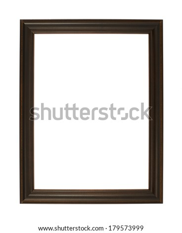 A4 size empty copyspace photo frame made of dark wood isolated over the white background