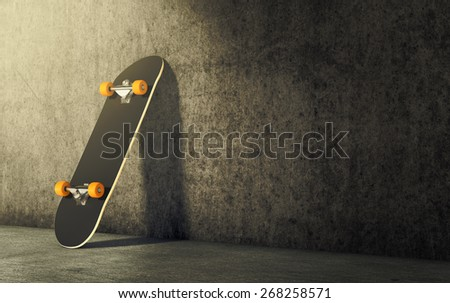 a skateboard leaning against wall, empty space at the right for custom text (3d render) - stock photo