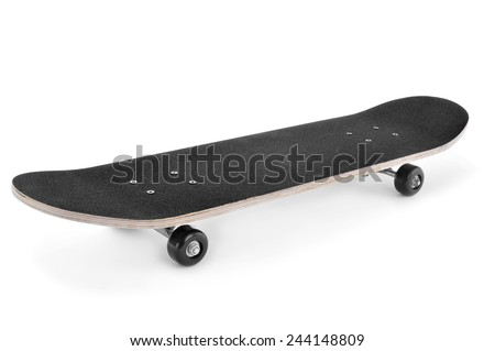 a skateboard on a white background - stock photo