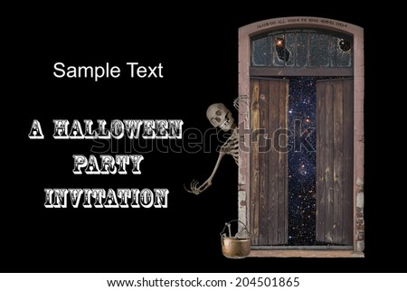 A skeleton beckons all to enter the door to eternity.  Star Field background behind door courtesy of NASA. - stock photo
