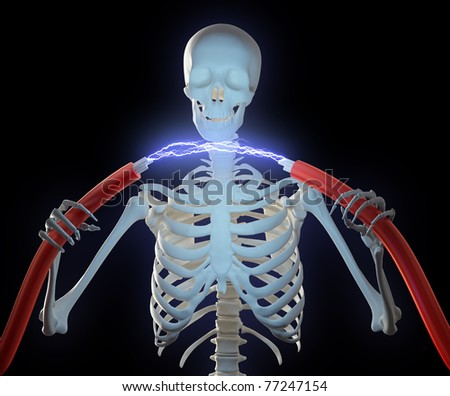 A skeleton holding high voltage cables with an electric discharge between them - stock photo