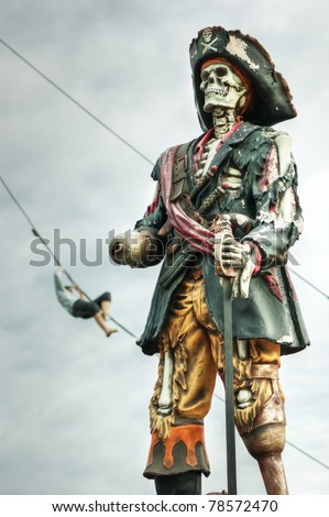 A skeleton pirate in Stockholm city,  Sweden - stock photo