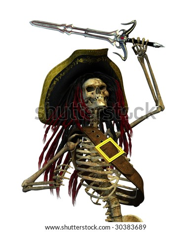 A skeleton pirate with dreadlocks is raising his sword - 3D render.
