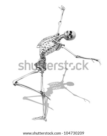 A skeleton takes a graceful skating pose - 3D render. Special shaders were used to create the appearance of a pencil drawing. - stock photo