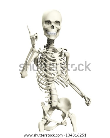 A skeleton that is posed - stock photo