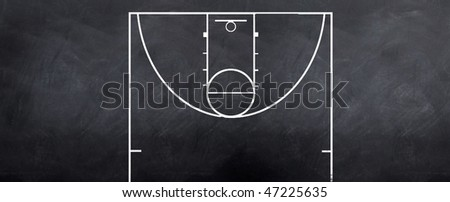 A sketch of a baasketball court attacking end to strategize on during the game - stock photo