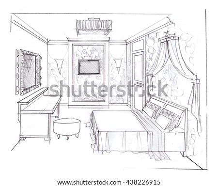 a sketch of the interior of a bedroom hand-drawn graphics
