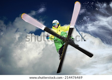 A skier on the piste in Alps,  Europe. - stock photo