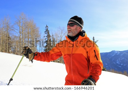 A skier pauses during a beautiful winter day, Utah, USA. - stock photo