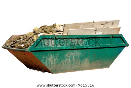A skip full of building materials rubbish isolated on white. - stock photo