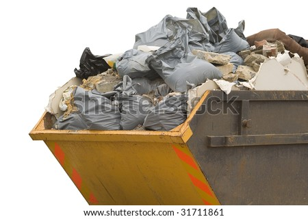 a skip full of refuse/trash sacks isolated on a white background - stock photo