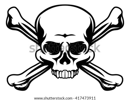 A skull and crossbones icon illustration like a pirates jolly roger sign - stock photo