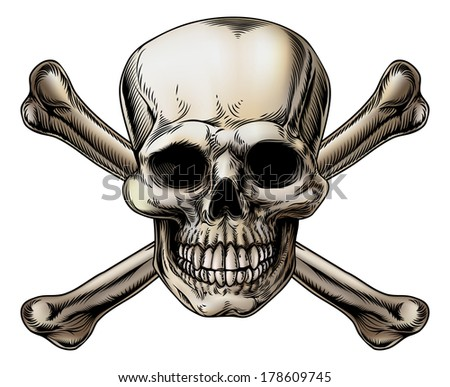 A skull and crossbones icon illustration of a human skull with crossed bones behind it. - stock photo