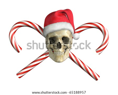 A 'skull and crossbones' type of image with a Christmas twist! 3D render with digital painting. - stock photo