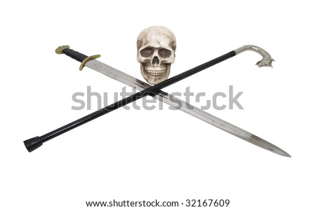 A skull with a sword crossed with a silver handled wolf cane used for walking with security - path included