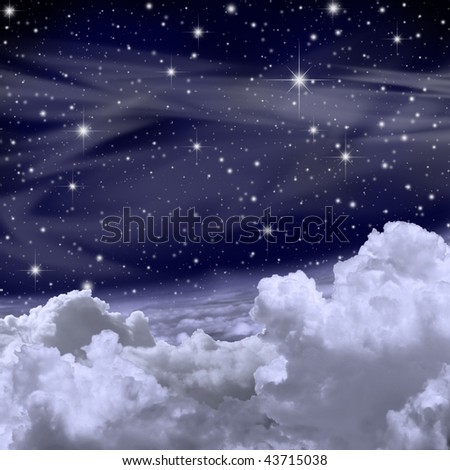 A Sky Background with Stars and Clouds