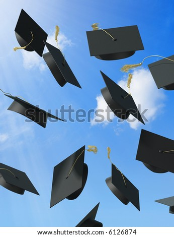 A skyfull of mortar boards. - stock photo