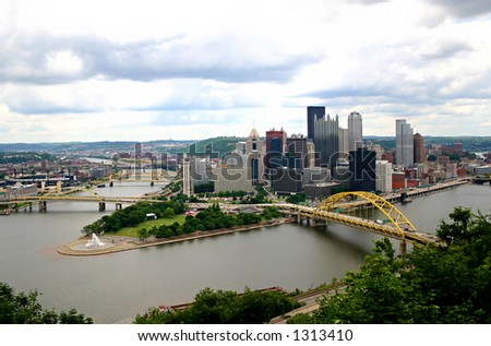 A skyline of Pittsburgh PA taken from the Incline. - stock photo
