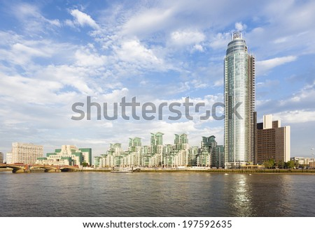 A skyscraper and modern buildings in the St George Wharf quarter in Vauxhall, London - stock photo