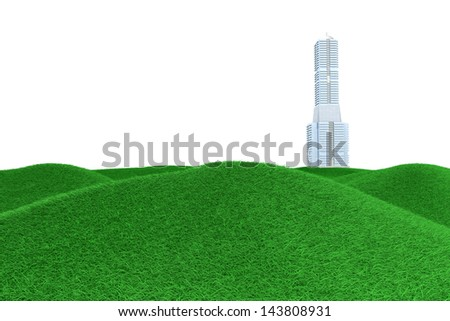 A skyscraper in a green Meadow. 3D rendered Illustration. - stock photo