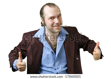 A sleazy car salesman, Con man, retro suit wearing man with happy face and doing the two thumbs up sign. - stock photo