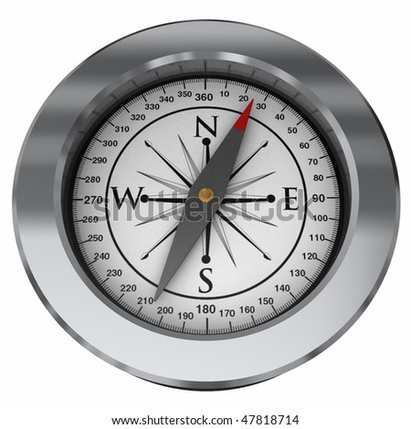 A sleek looking modern compass isolated on a white background - stock photo