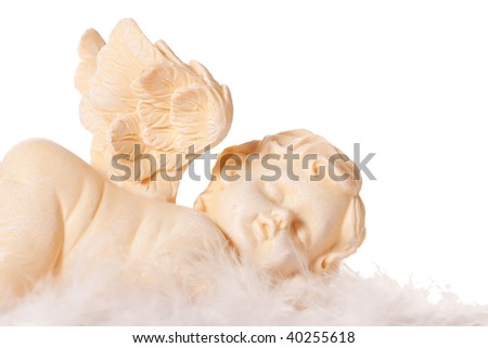 a sleeping angel, isolated on a white background - stock photo