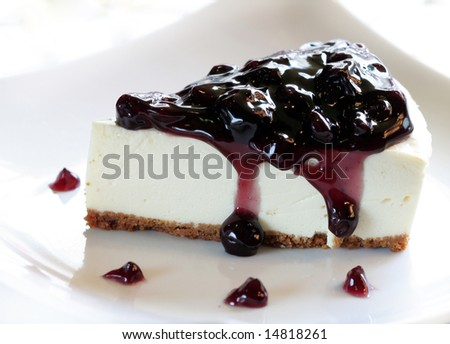 A Slice of Blueberry Cheesecake - stock photo