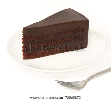 a slice of chocolate cake on white plate - stock photo