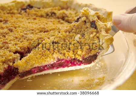 A slice of crumb top blueberry pie being removed from plate - stock photo