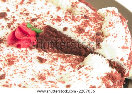 A slice of gourmet red velvet chocolate cake - stock photo