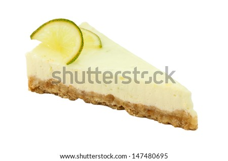 A slice of lemon cheescake isolated on a white background.