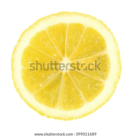A slice of lemon isolated on a white background - stock photo