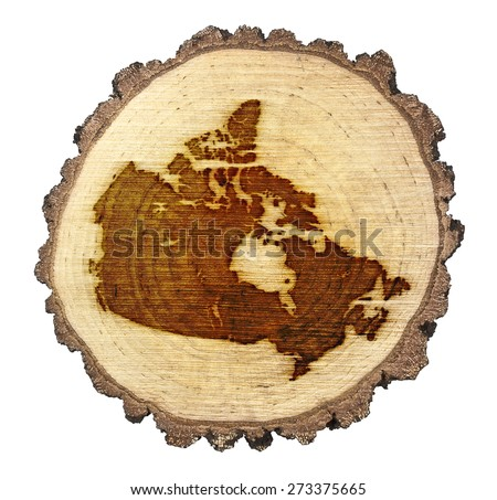 A slice of oak and the shape of Canada branded onto .(series) - stock photo