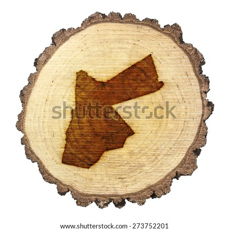 A slice of oak and the shape of Jordan branded onto .(series)